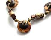 Brown Ceramic Necklace, Beaded Necklace, ceramic jewelry