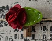Burgundy Felt Flower with Green Leaf on Lined French Barrett