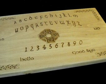 Woodburned Celtic theme spirit board