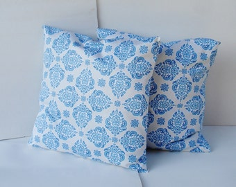 set of 2  pillow covers  Screen print  Decorative Pillow Cover- 18 x 18 blue, light blue, off white