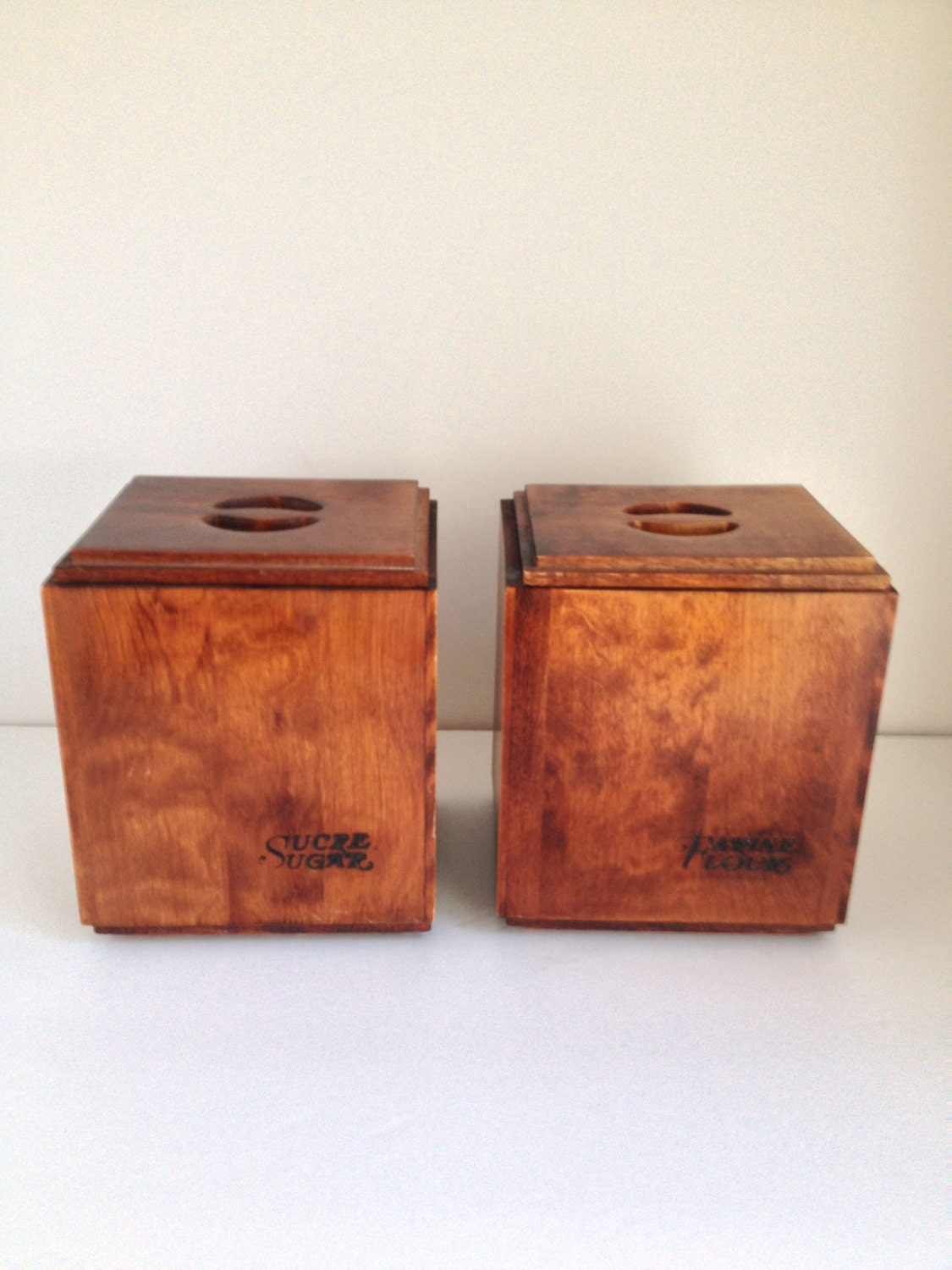 retro wooden flour and sugar kitchen canister set french and