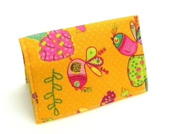 Business Card Holder - Birds and flowers in orange, pink, yellow, and mint