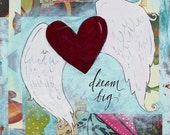 Winged Heart - Original Mixed-Media Painting by Dominy Alderman