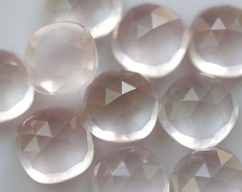 AAA Grade 10mm Rose cut Cushion Rose quartz - 1 cab