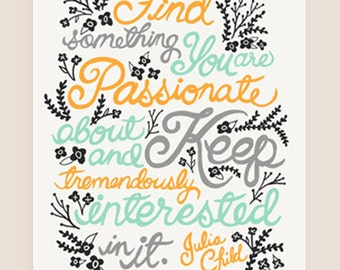 11x14-in Julia Child Quote Illustration Print.