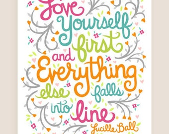 11x14-in Lucille Ball Quote Illustration Print.