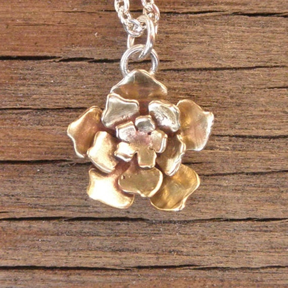Cut Out Flower Necklace Brass flower and Sterling Silver chain