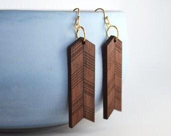 Laser Cut Walnut Wood Earrings
