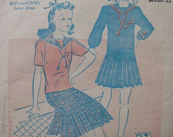 Sweet As Can Be Vintage 40's Girl's and Child's SAILOR OUTFIT PATTERN Blouse and Skirt