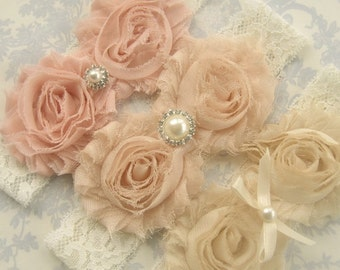 Baptism Headbands  Flower Girl headbands, girls headband, bridesmaids headbands, shabby chic headbands,  blush 3 headbands