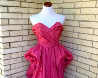 1940s Formal Dress Pink Floor Length Prom Small