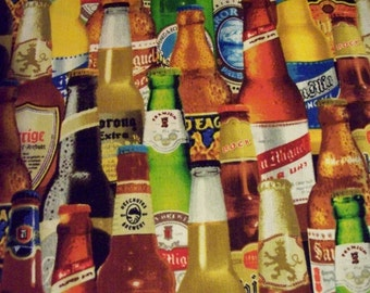 Realistic Beer Craft Bottles Cotton Fabric Fat Quarter or Custom Listing