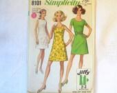 Vintage Sewing Pattern 1960s Womens Sleeveless Dress Misses Short Sleeve Dress Size 12 Petite Simplicity 8101