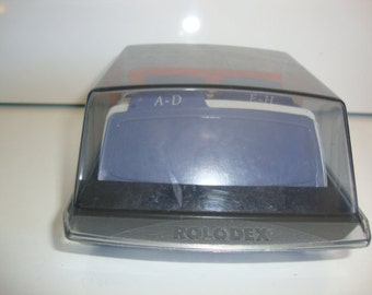 Vintage Rolodex Card File, Small Covered Rolodex, Rolodex with Cards, Office Supply, Desk Organizer