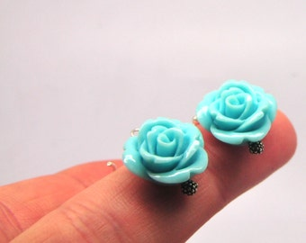 Turquoise Rose Bridesmaid Earrings/ Bridesmaid Gifts and Favors/ Garden Weddings and Wedding Party Gifts