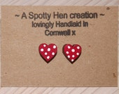 Red & White Polka Dot Heart Earrings, 925 Sterling Silver, Shabby Chic Wooden Heart Studs, Pretty 1cm Hearts, Unique, Handmade In Cornwall