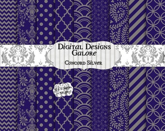 Concord Silver Digital Paper Pack Set of 9 - Purple, Silver, Gray, Grey 12 x 12 Digital Papers - Digital Designs Galore