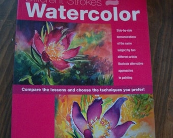 """Watercolor Painting Instructional Book - Comparing Different Strokes - Beginner to Experienced Artists - 8.5"""" x 11"""" Brand New"""