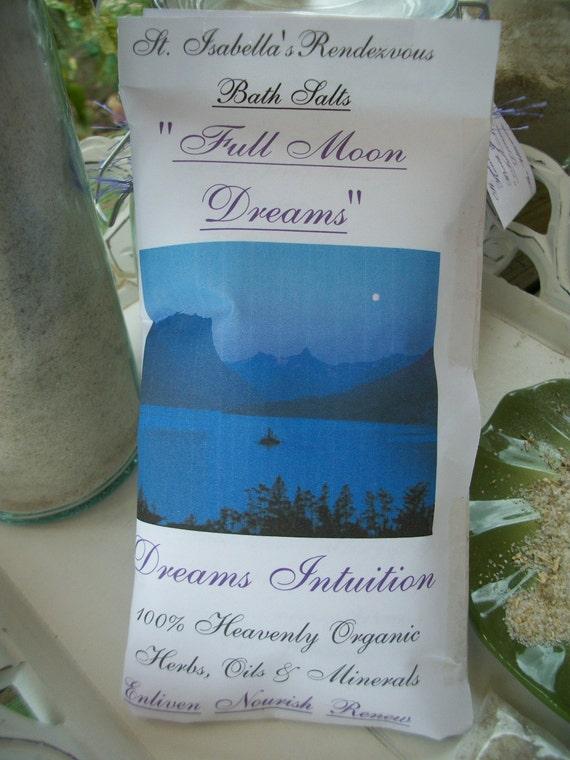 Full Moon Dream Bath Salt Soak 9oz - Detox Bath Aromatherapy - Dreams Visions Intuition - Organic Botanicals & Minerals - Magical Mystical