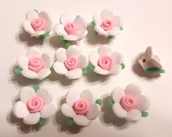 20 Fimo Polymer Clay White PInk Flowers Fimo Beads 17mm