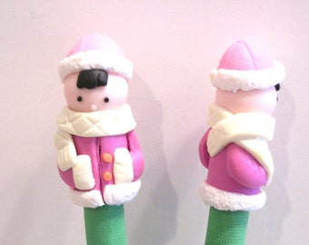 New Cute Polymer Fimo Clay Girl Winter Coat Pen