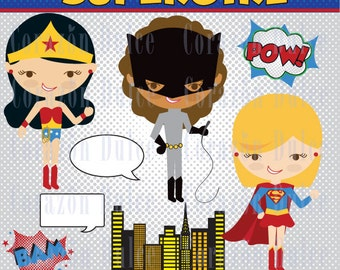 INSTANT DOWNLOAD Super girls  -Personal and Commercial Use Clip art-