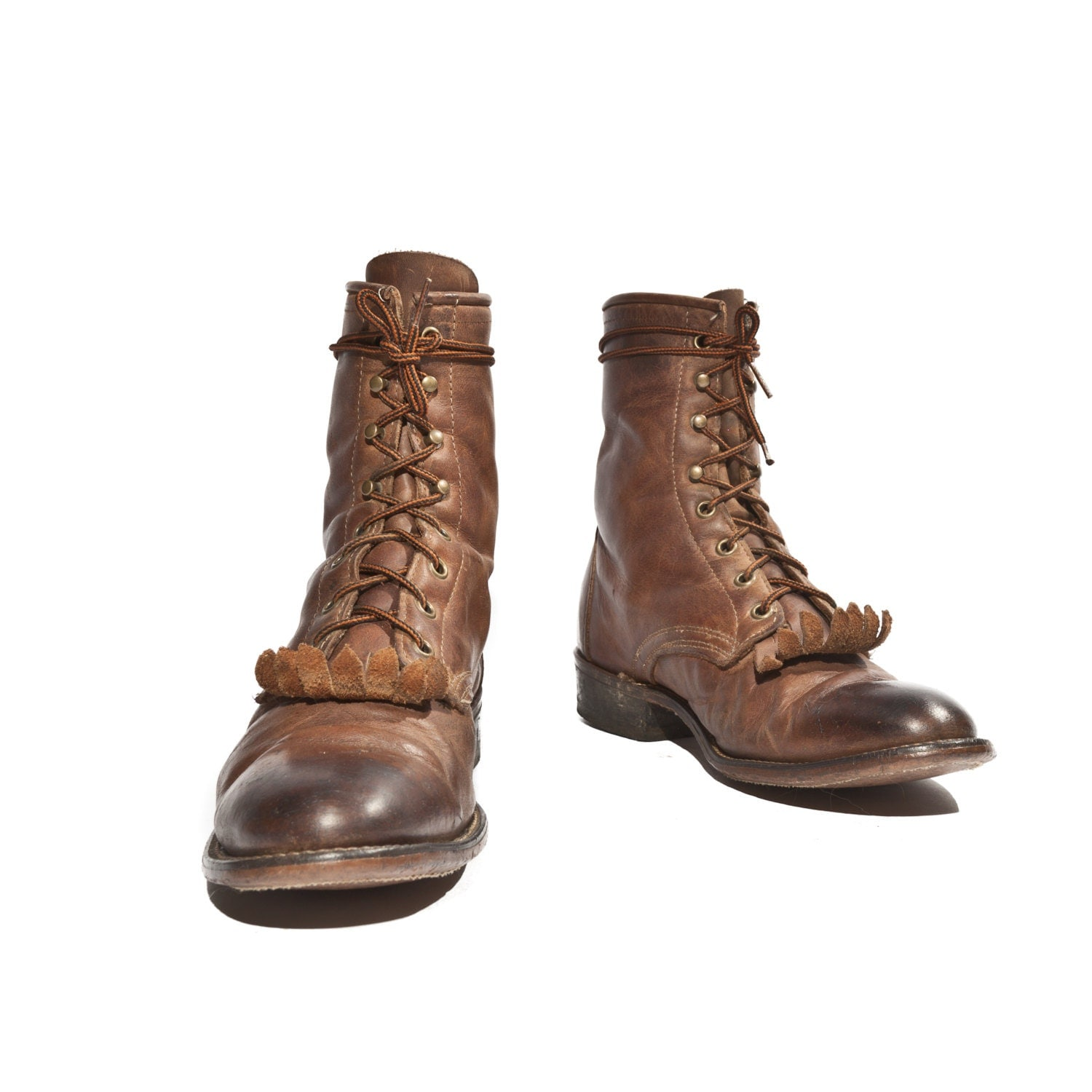 Women S Laredo Roper Lace Up Boots In Brown Leather With