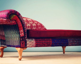 Patchwork chaise lounge - Indian Kantha Quilt