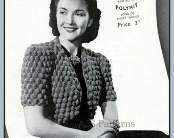 PDF Knitting Pattern for a 1940's Retro Bolero in a fabulous Design - Instant Download