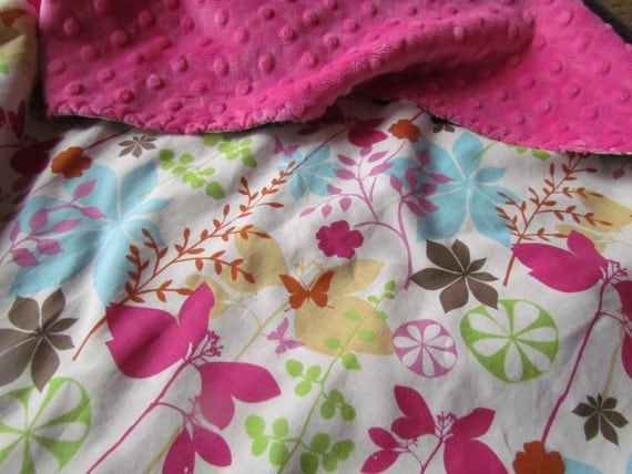 Baby Blanket, Butterfly Garden with Hot Pink Minky- READY TO SHIP