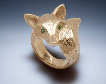 FURRED fox ring, bronze , pick your eye color and finish