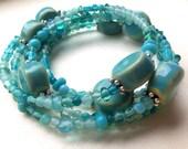 Beachy Blue Beaded Glass & Porcelain Coil Bracelet