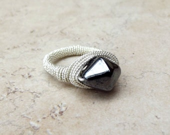 Unique Engagement Ring, Black Diamond Ring:  Fancy Silver Wire Wrapped Ring, Geometric Jewelry, Midnight Black, Size 6.5