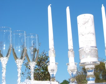 One Big Happy Family .......Complete Rhinestone set..........candles,flutes,holders,servers
