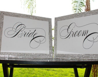 Bride and Groom sign.....  bling Wedding Photo prop