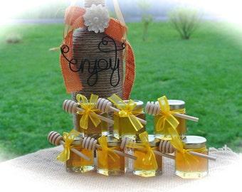 Yellow Bridal Shower Honey Favors, Wedding Favors,  48 Jars Filled FRESH & Safety Sealed
