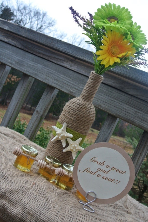 Items similar to beach wedding centerpiece burlap vase Environmentally friendly decorations