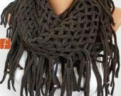 Dark Brown Knit Infinity Scarf Winter  Loop Scarf Circle Scarf Cowl Scarf Lace Scarf Tube Scarf Gift Ideas For Her Women fashion Accessories