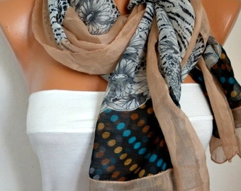 Floral Chiffon Scarf, Teacher Gift, Shawl, Spring Summer Scarf,  Cowl Scarf Gift Ideas For Her Women's Fashion Accessories