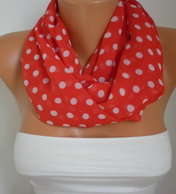 Red & White Polka Dots Infinity Chiffon Scarf,Fall Scarf, Circle Loop Scarf,Bridesmaid gift, Gift Ideas For Her Women Fashion Accessories