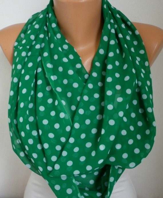 on sale green polka dot infinity scarf shawl circle scarf