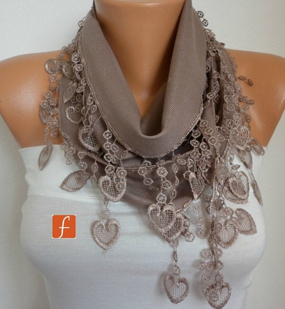 ON SALE - Beige  Heart Scarf  Shawl - Pashmina Scarf - Cowl Scarf Women's Fashion Accessories best selling item scarf