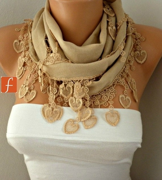 Camel Heart Scarf  Valentine's Day Gift Pashmina Scarf  Cowl Scarf  Gift Ideas For Her Women Fashion Accessories