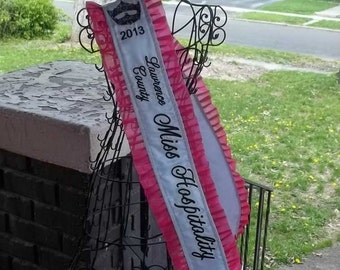 Satin Pageant Sash with Added Crown Embroidery and Crystals, Custom Made