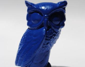 Blue Upcycled Owl Figurine