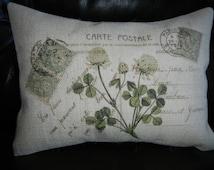 Green Clover French Postmark  Burlap Pillow