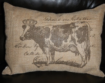 Vintage French Cow Postmark Burlap Accent Pillow  Shabby Chic