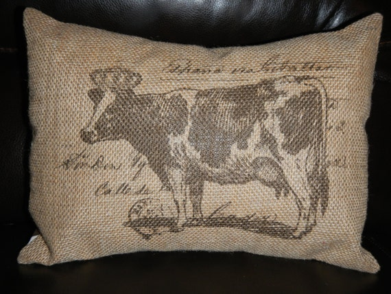 French Shabby Chic Pillows : French Cow Burlap Pillow French Postmark by PolkadotApplePillows