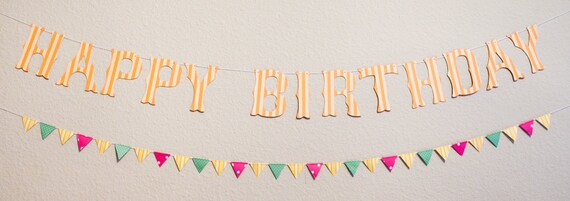 Happy Birthday Banner with Color Flags (Custom Colors Available)
