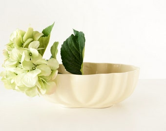 Vintage Bone White Ceramic Planter by Cookson (c.1960s) - Home Decor, Garden Planter, Vase, or Storage Bowl